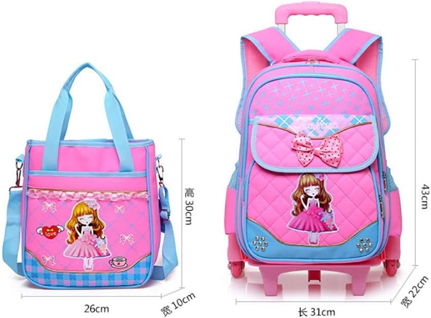 Waterproof Removable Safety Kids Bookbag Set 2 Pcs with Handbag Lunch Bags,Red HCC/& Lovely Girl Trolley School Backpack