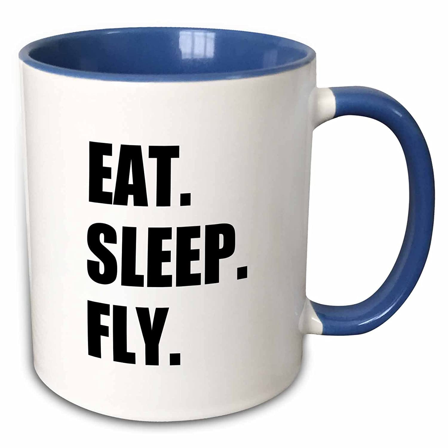 3dRose 180404/_4 Eat Sleep Fly Black 11 oz Fun Gifts For Pilots Flight Crew And Frequent Flyers Two Tone Mug