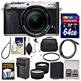 Fujifilm X-E3 4K Digital Camera & 18-55mm XF Lens (Silver) with 64GB Card + Case + Battery & Charger + Tripod + Filter + Tele/Wide Lens Kit