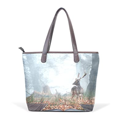 0179e0d9e4a Sunlome Fallow Deer Stag In Pages Of Magical Book Pattern Handbags For Women  Girls PU Leather