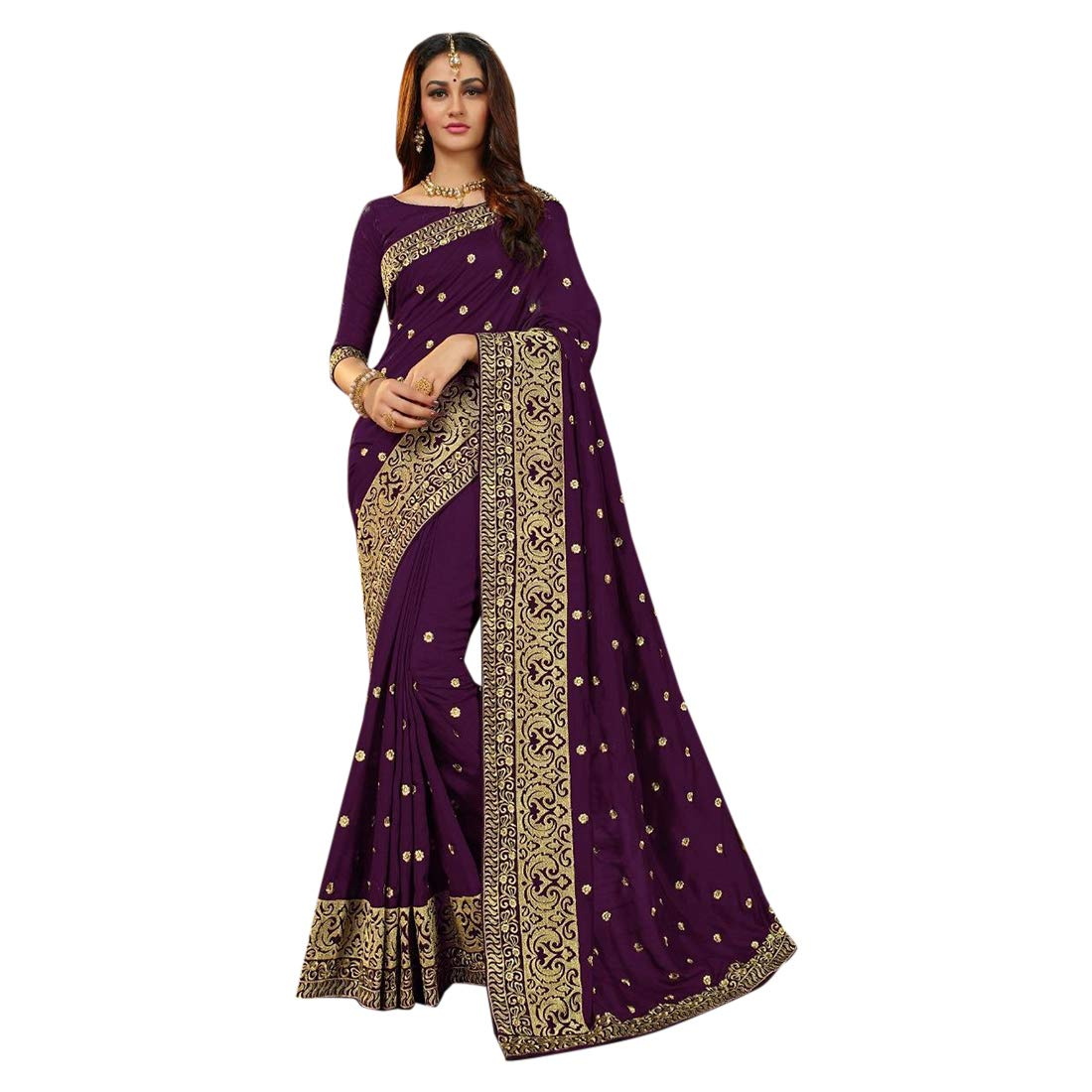 Purple Designer Collection Silk Saree With Blouse Indian Ethnic Party Wear Sari 7355