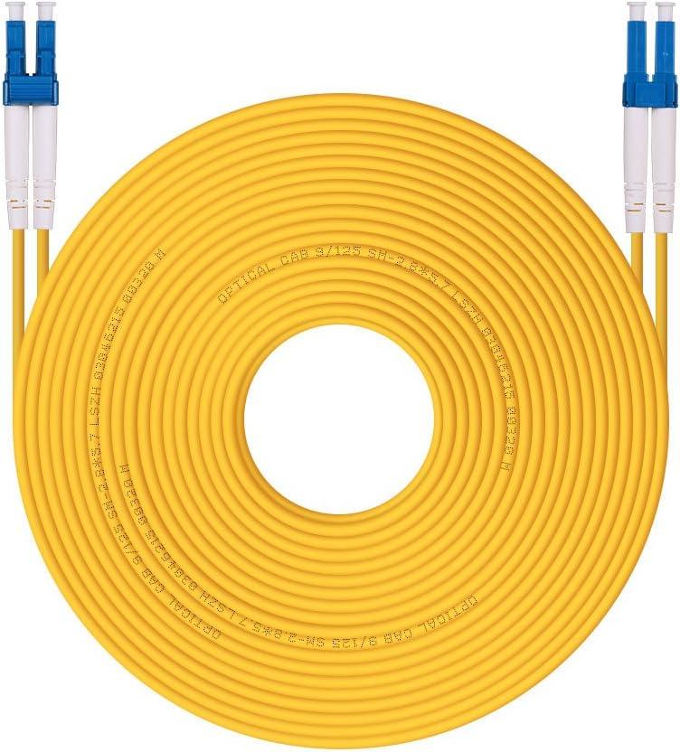 H!Fiber.com Cable de conexión de Fibra LC a LC LC 9/125 dúplex monomodo OS1/OS2, LSZH, 30 Metros(100 pies)