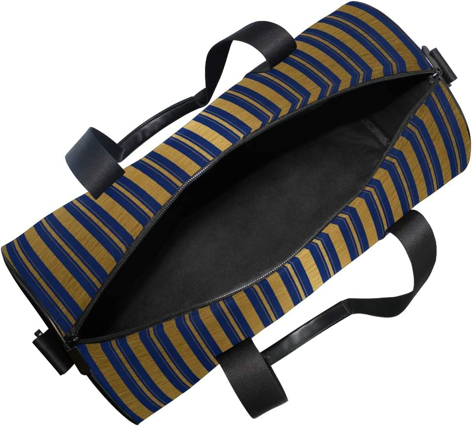 MALPLENA Classi Spun Gold Stripes Christmas Drum gym duffel bag women Travel Bag
