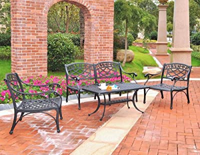 Crosley Furniture Sedona 4-Piece Solid-Cast Aluminum Outdoor Conversation Set with Table