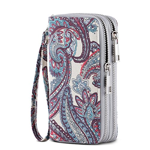 HAWEE Cellphone Wallet Dual Zipper Wristlet Purse with Credit Card Case/Coin Pouch/Smart Phone Pocket Soft Leather for Women or Lady, Kidney Flower