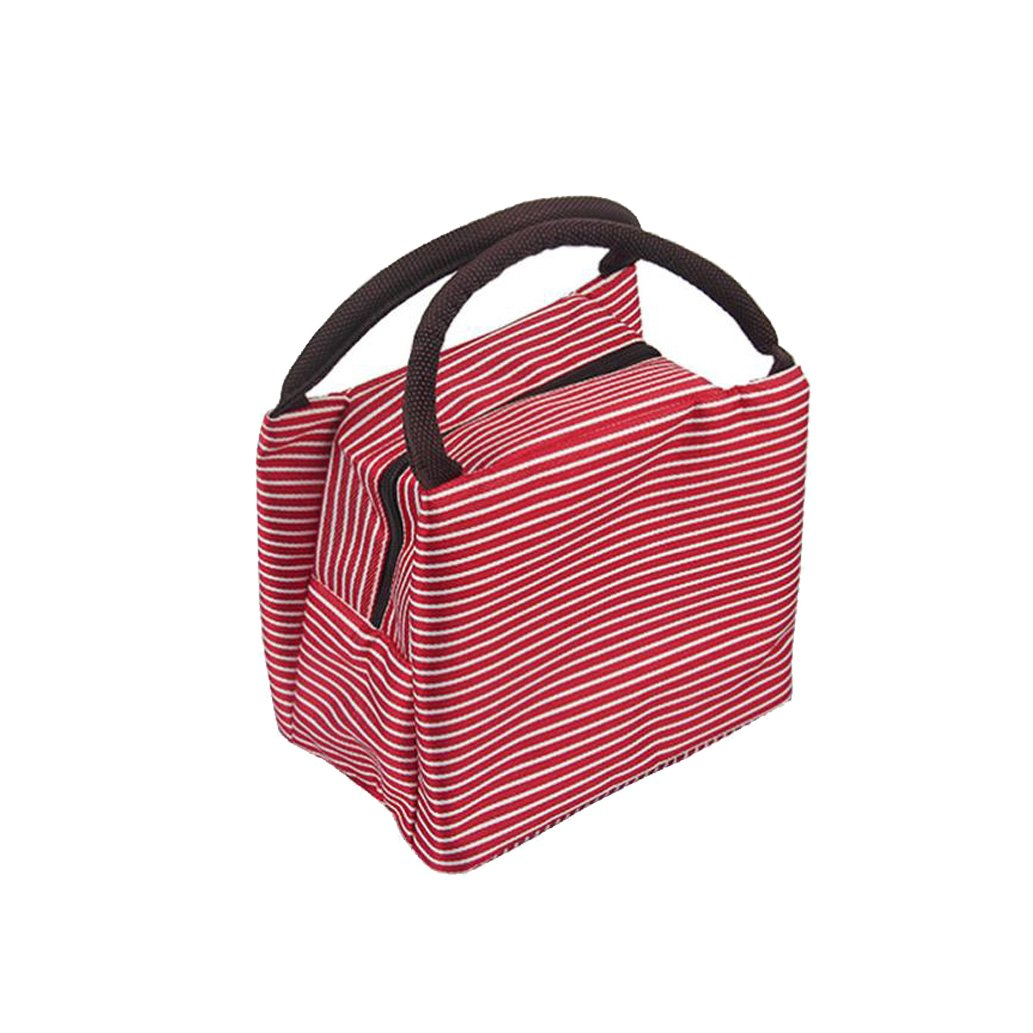 Clearance!! Lunch Bags, Quistal Insulated Cold Canvas Stripe Lunch Tote Thermal Portable Lunch Bag Waterproof Outdoor Travel Picnic Carry Case for Women Adults Kids (Black)