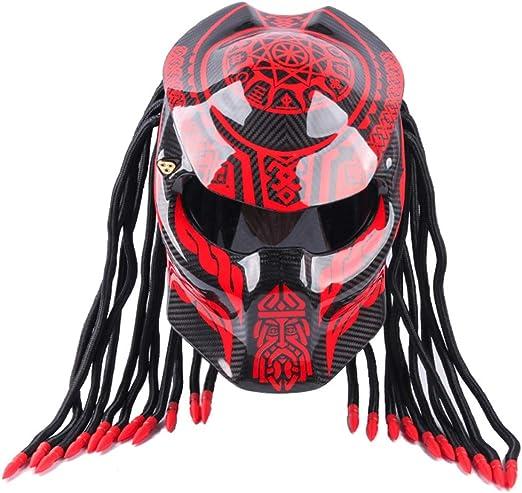 WWtoukui Casco de Moto, Depredador Creativo Fresco Fibra de ...