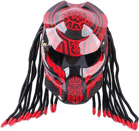 CAXIJUN Casque de Moto Predator Cool Fibre de Carbone Protection UV Anti-Brouillard Masque Frange Scorpion Plein Visage Casque Motocross Locomotive Dot Casque certifi/é,S