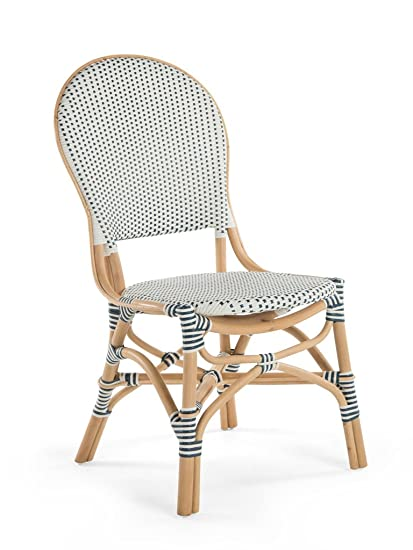 Bon Kouboo Rattan Bistro Dining Chair, White And Blue, Set Of 2 Chairs