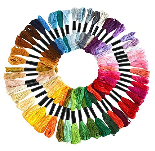 Embroidery Floss Skeins Rainbow Color – Soft Cotton Cross Stitch / Sewing Threads - Friendship Bracelets Floss – Crafts Floss – 50 Skeins per Pack (Random Color) (Freestyle Cutter)
