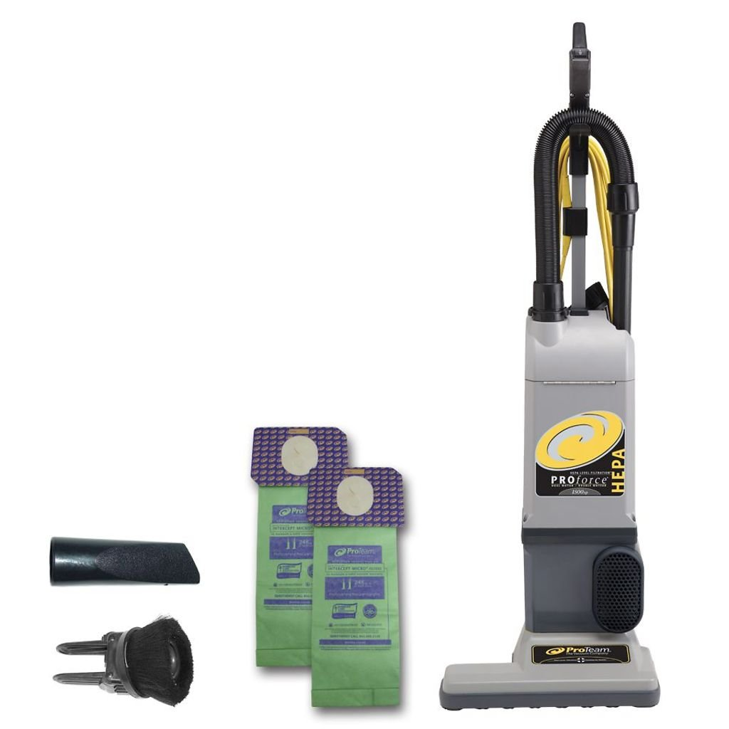 ProTeam ProForce 1500XP Bagged Upright Vacuum Cleaner with HEPA Media Filtration, Commercial Upright Vacuum with On-Board Tools, Corded by ProTeam