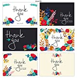 Thank You Cards - 36 Floral Bulk Thank You Note Cards - Blank Cards Inside - Included Envelopes - Birthdays, Bridal, Showers and Business - 6 Unique Designs by dreamlify