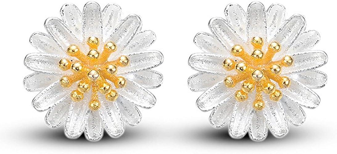 Girls Ladies 925 Sterling Silver Daisy Flower Stud Earrings Butterfly Backs