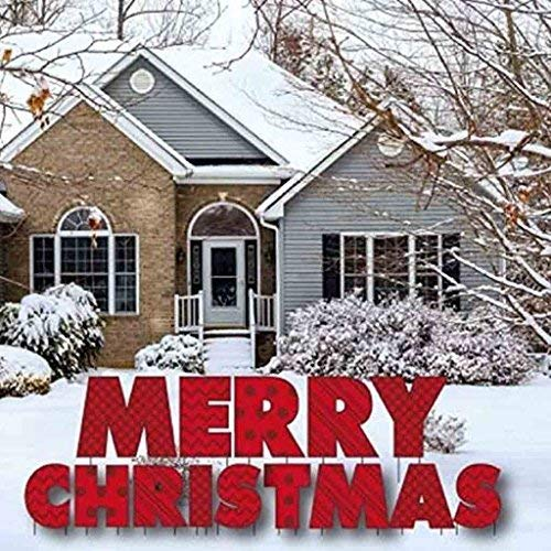 VictoryStore Yard Sign Outdoor Lawn Decorations: Merry Christmas Letters Yard Card with 28 Stakes]()