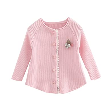 a5704b8f9 Amazon.com  Little Baby Girls Button-down Cardigan Toddler Cotton ...