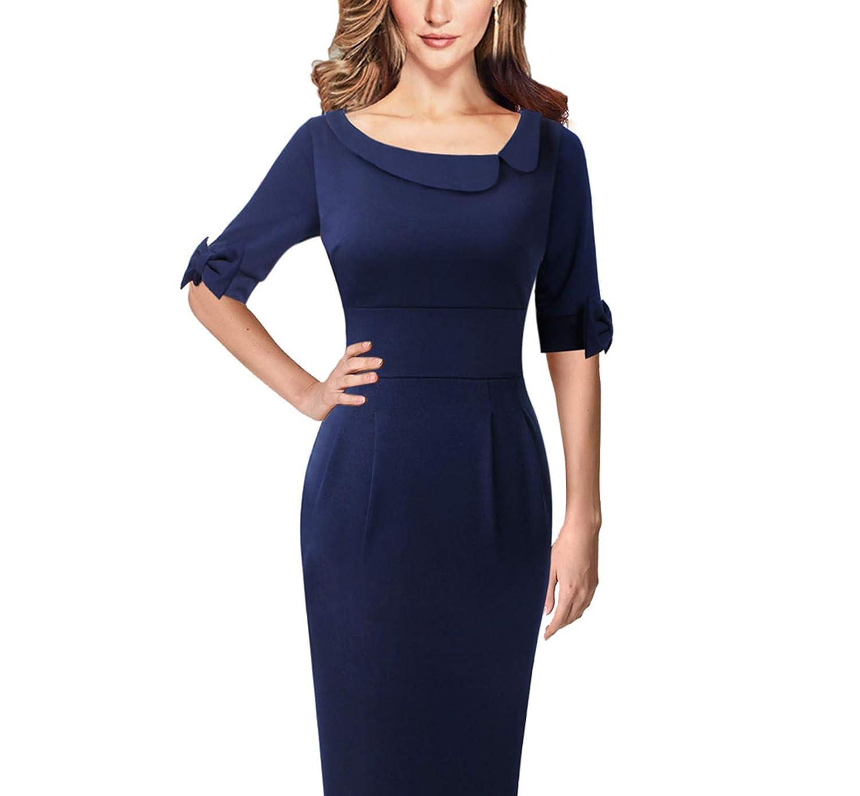 Dark bluee Womens Vintage Asymmetric Neck Lapel Bow Elbow Sleeves Casual Pencil Sheath Dress