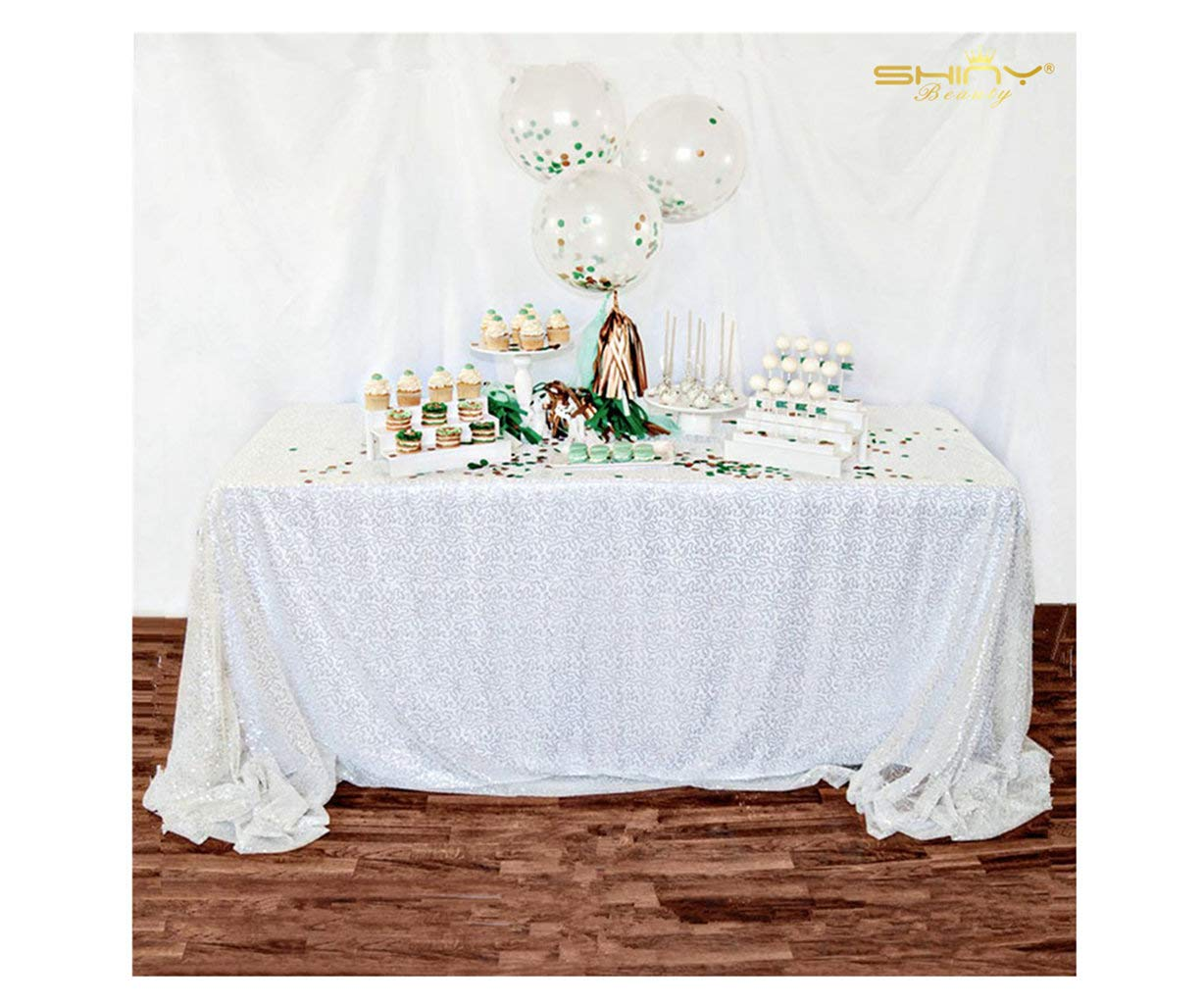ShinyBeauty 60inx102in Sequin Tablecloth-Rectanglar-White-for Wedding/Christmas Party Linen (White)