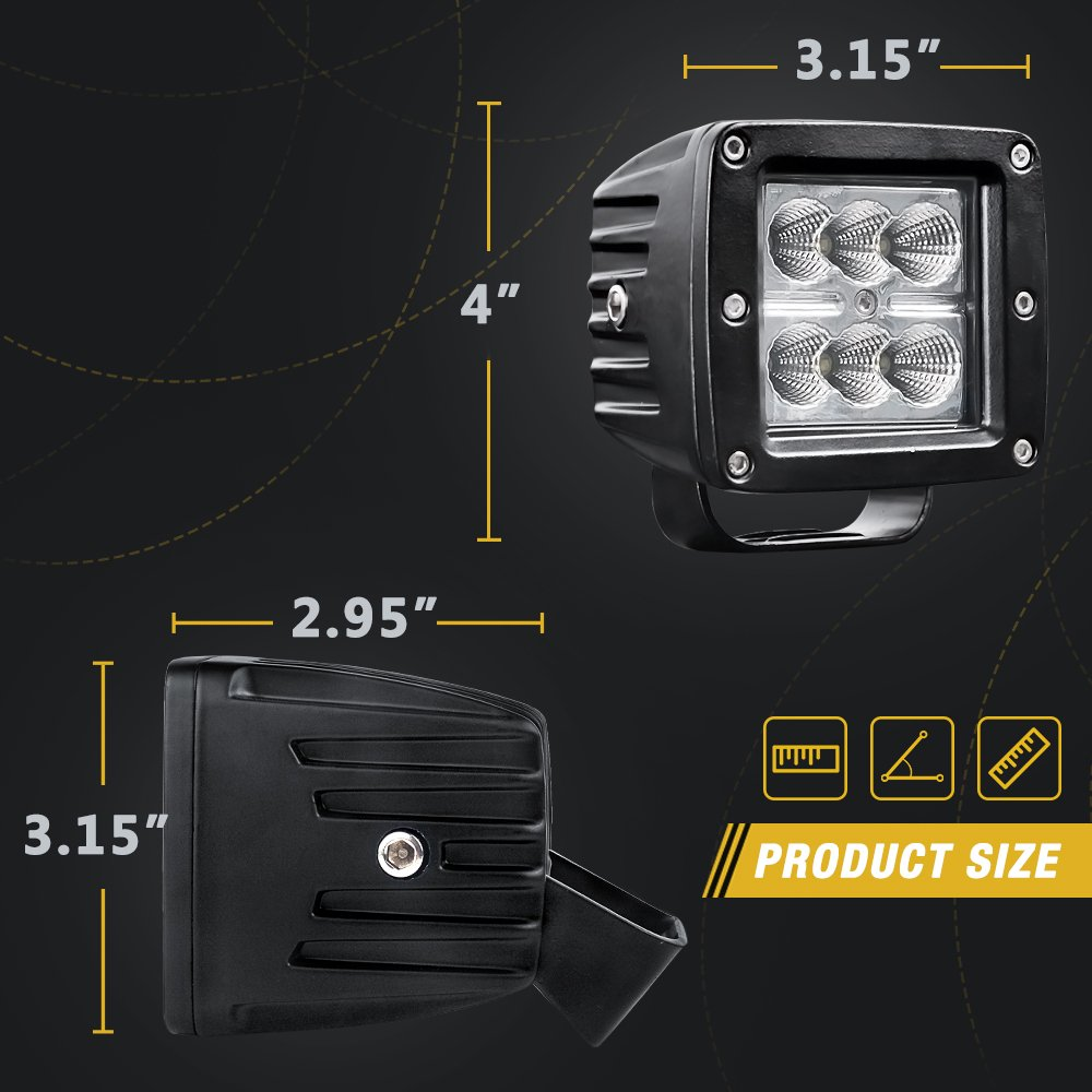 AUTOSAVER88 4PACK LED Pods 4 32W 3200LM Flood Off Road Fog Work Lights Super Bright Waterproof for Motorcycle Trucks Jeep ATV Boats 2 Year Warranty