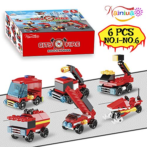 222PCS Fire Rescue Vehicles Building Blocks Set ,6 Different Models filled in 6 Easter Eggs Including Fire Boat,Helicopters and Fire Truck for Kids Easter Egg Fillers, Easter Basket Fillers #1-#6