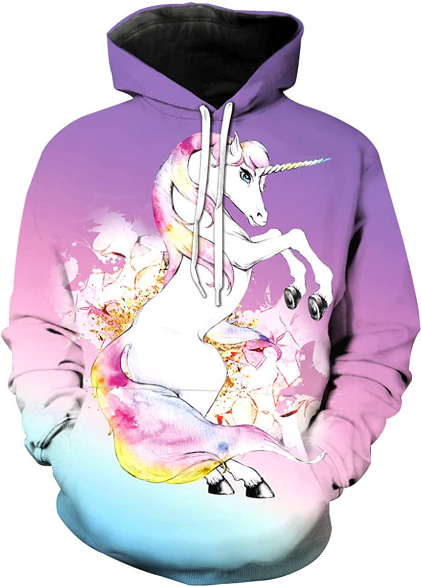 ArtistMixWay Kids 3D Rainbow Unicorn Print Hooded Pullover Sweatshirt for Boys Girls 3-12Y