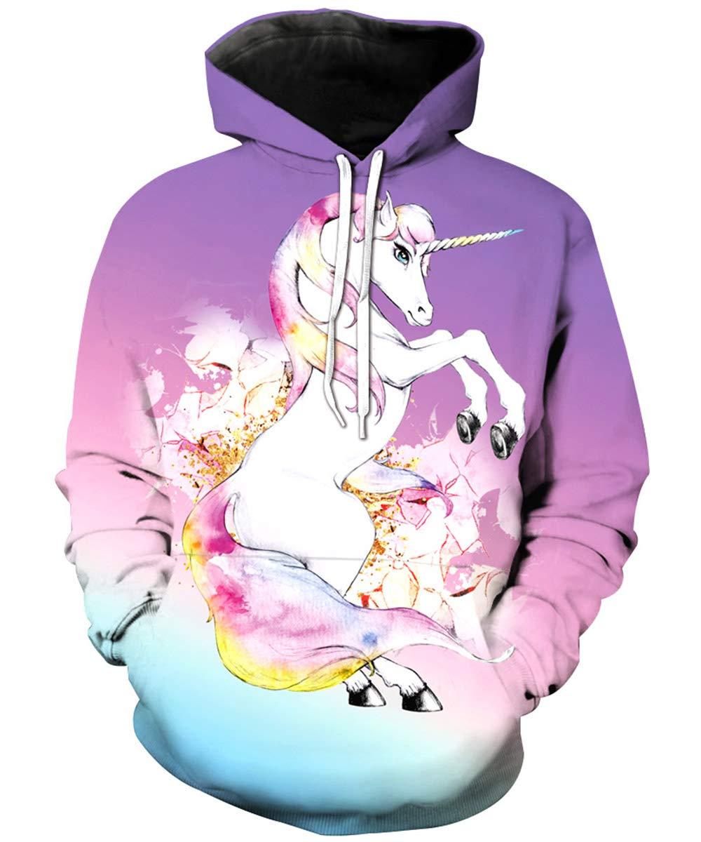 KIDVOVOU Unicorn Hoodie Kids Unisex 3D Digital Print Pullover Sweatshirt,Horse Unicorn,11-12 Years