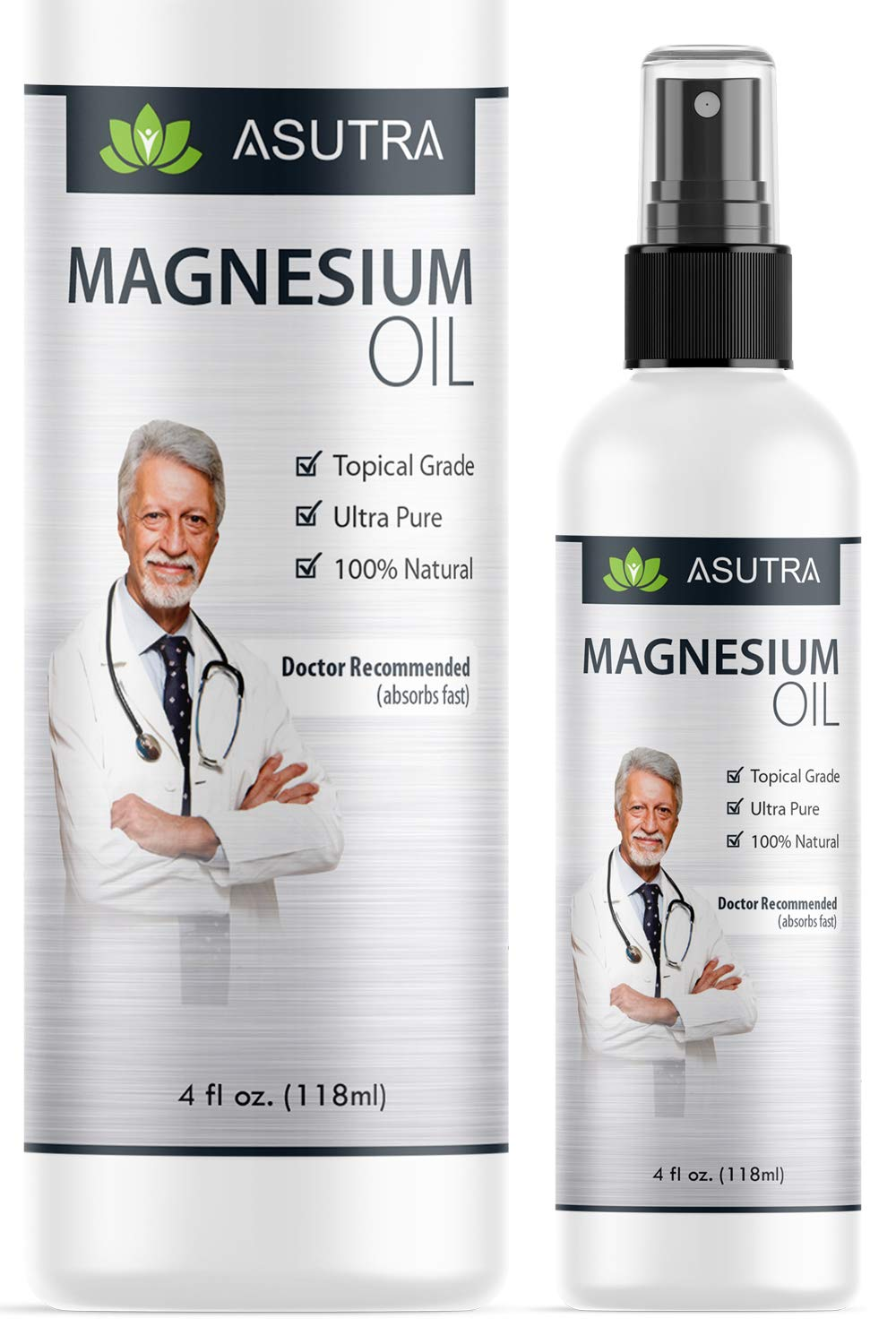 ASUTRA Pure Zechstein Magnesium Oil Spray - LESS ITCH & LESS STING/Effective Rapid Transdermal Absorption + FREE Magnesium E-Book, 1 4oz bottle