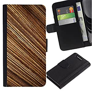 KingStore / Leather Etui en cuir / Sony Xperia Z3 Compact / Patrón de rayas aleatorias Madera Dise?o Brown