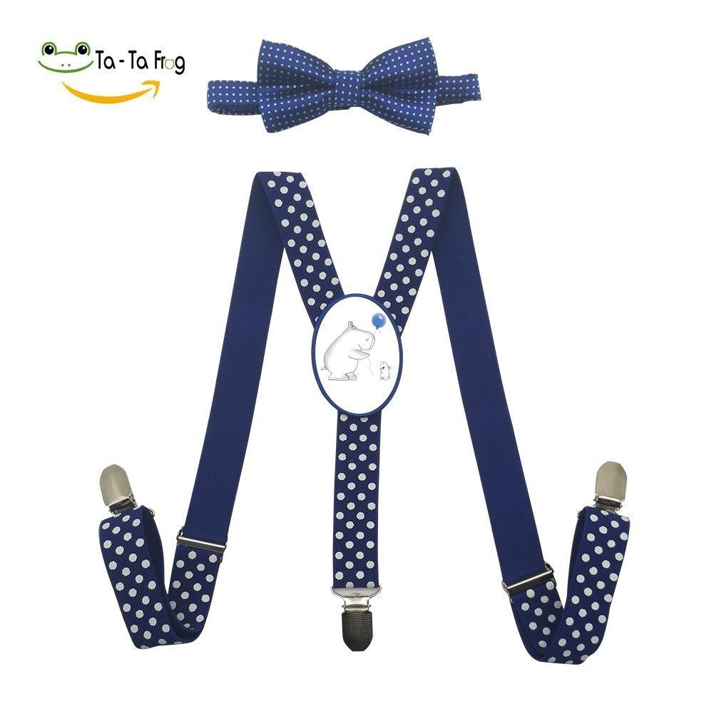 Xiacai Hippo Love Suspender&Bow Tie Set Adjustable Clip-On Y-Suspender Children