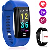 Fitness Tracker, Color Screen Fitness Watch, Sunlight Readable Heart Rate and Blood Pressure Monitor, Waterproof Activity Tracker Smart Watch with Replacement Band for Women Men Kids