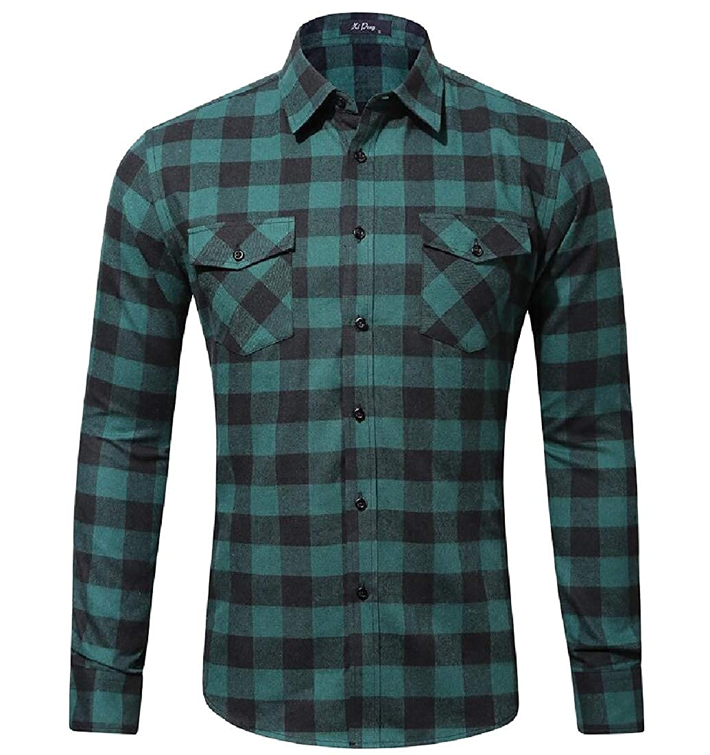 ouxiuli Men/'s Basic Long Sleeve Plaid Flannel Shirts Casual Button Down Shirts
