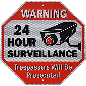 """Diamond ULTRA REFLECTIVE Warning 24 Hour Surveillance No Trespassing Metal Sign 