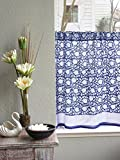 Midnight Lotus ~ Unique Asian Blue Floral Kitchen Curtain 36×46