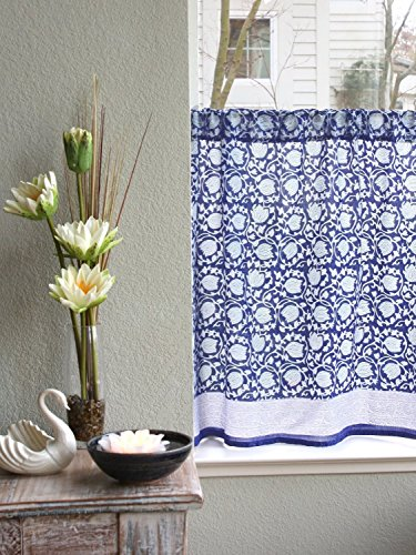Midnight Lotus ~ Unique Asian Blue Floral Kitchen Curtain 36x46