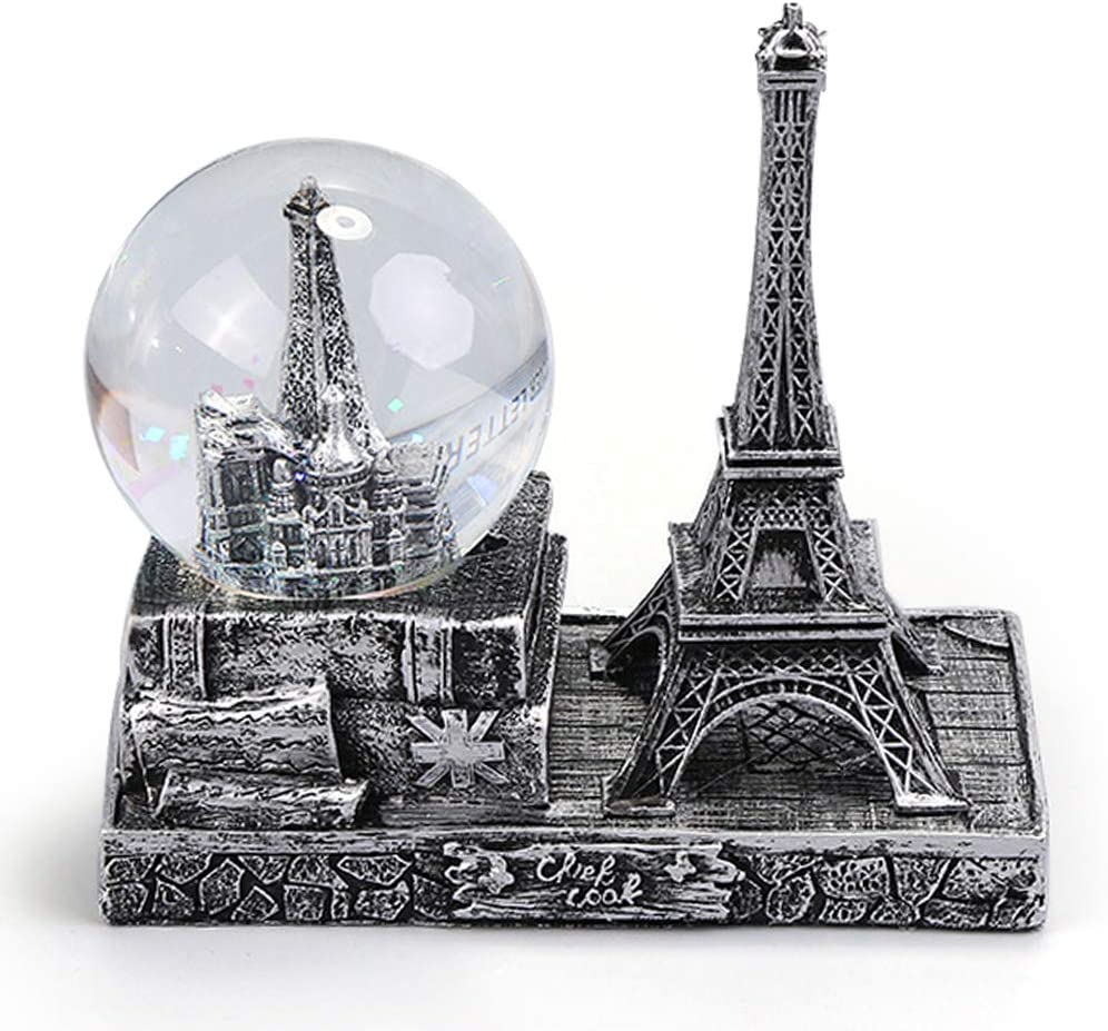 QTKJ Paris Snow Musical Globe with Color Changing LED Lights, Square Base Retro Eiffel Tower Snow Globe, Souvenirs Collection (Silver, Tower)