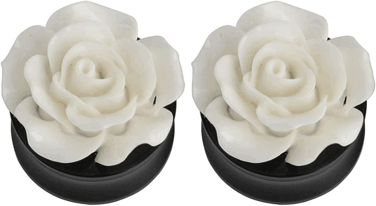 """Pair 0g-1//2/"""" Acrylic Rose Flower Single Flare Plugs Tunnels Double Ear Gauges"""