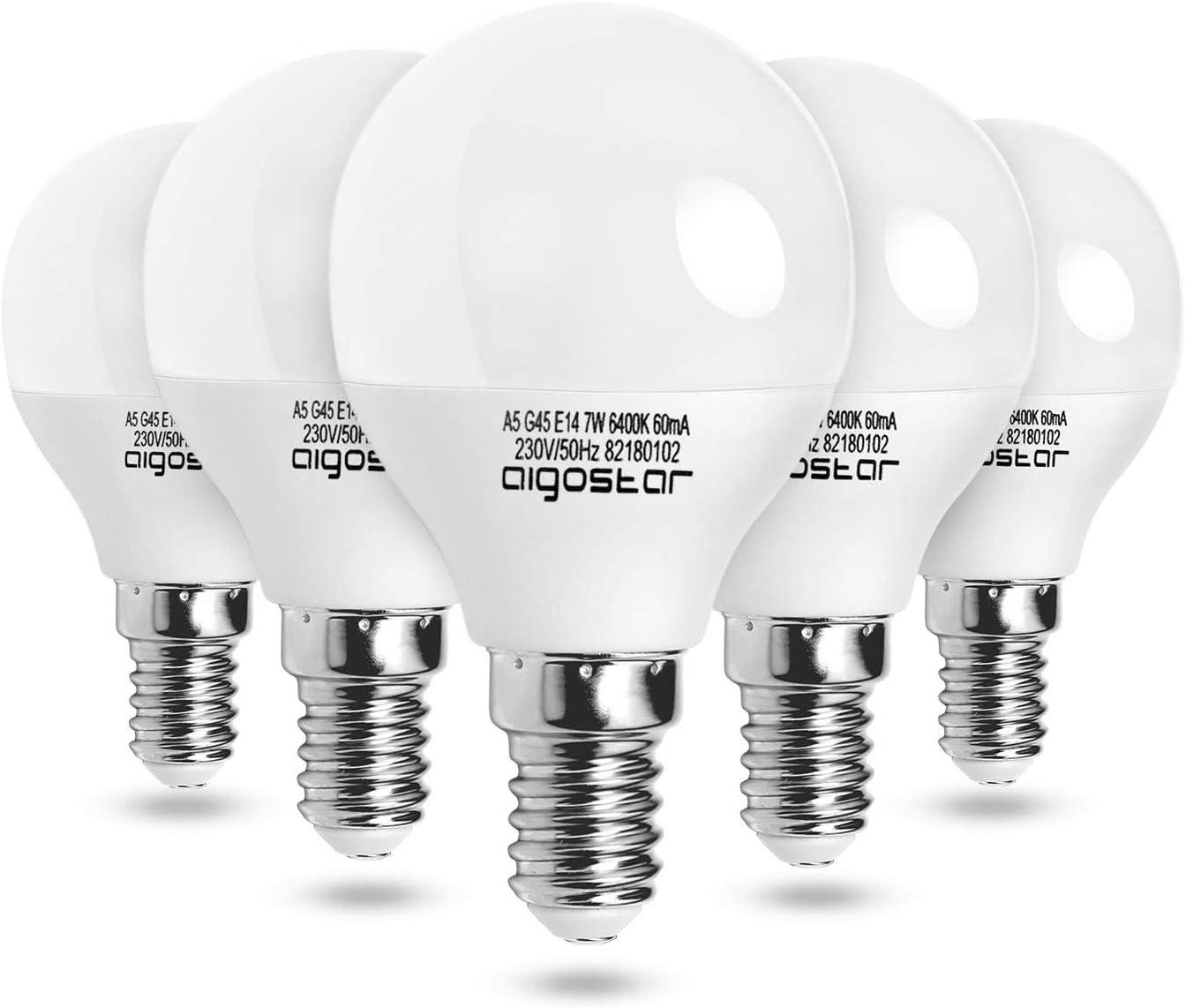 Aigostar - Bombilla LED A5 G45, E14, 7 W, Luz blanca fría 6400K, 560 lúmenes, no regulable - 5 unidades