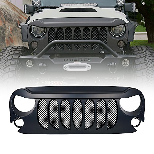 Xprite Front Matte Black Beast Grille Grid Grill W/ Built-In Mesh for Jeep Wrangler Rubicon Sahara Sport JK 2007-2017
