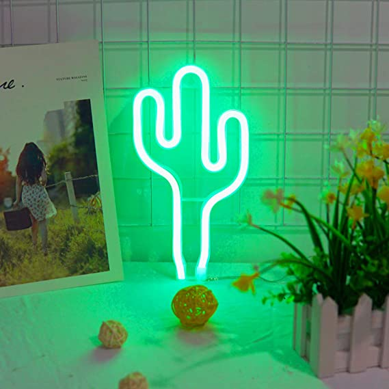 Hot Ins Cactus Green Color Neon Tube Led Lamp Childrens Room Night Light Bar Atmosphere Light Dormitory Room Decoration Props (Green - Cactus)