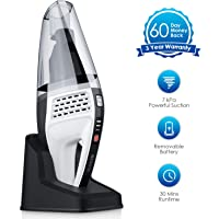 NOVETE Handheld Vacuum Cordless with Replaceable Battery, High Power Suction Lightweight Rechargeable Hand Vac Up to 30 Mins of Wet Dry Use, for Home Car Cleaning with 2 Washable HEPA Filters