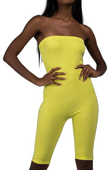 a972e0859e3 AKIRA Women s Strapless Tube Top Biker Bike Short Kim K Bodycon Fitted Sexy Romper  Jumpsuit-