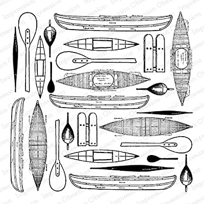 Vintage Kayak Cover-a-Card Unmounted Cling Rubber Stamp (CC253)