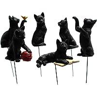 6 st trädgård katt statyer dekor mini mikro landskap blomkruka plug-in med lysande öga svart katt harts hantverk…