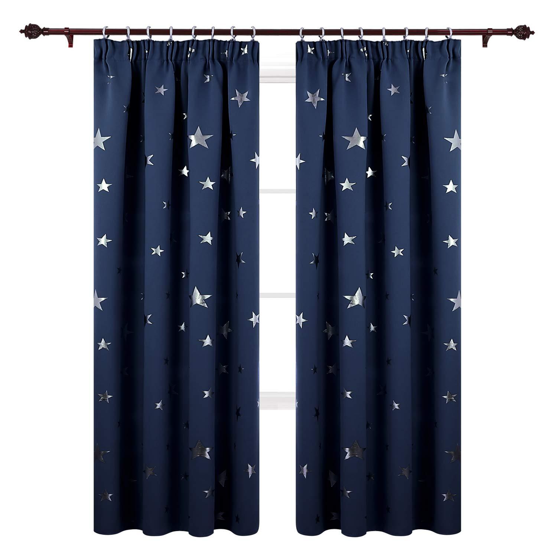 Deconovo Cortina con Estrellas Plateadas T/érmica Aislante Cortinas Modernas para Dormitorio Sal/ón Habitaci/ón 117 x 138 cm Gris Claro 1 Par