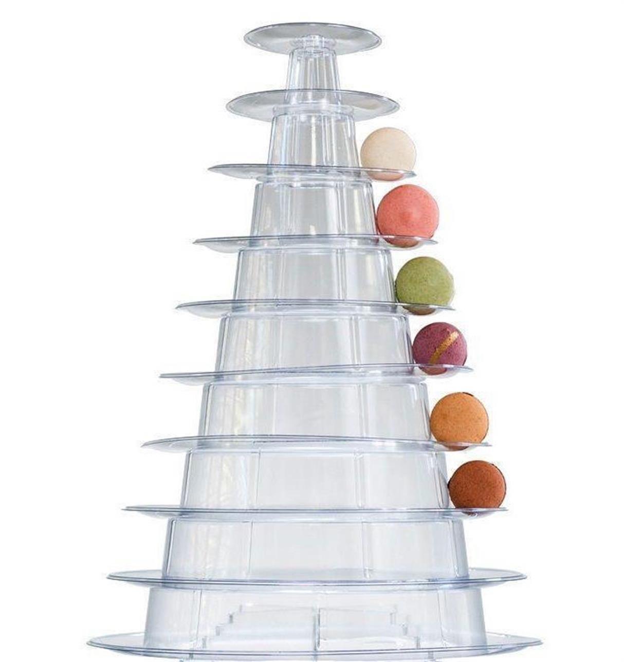 Kehuashina 1pcs 10 Tier Macaron Tower Display Stand for French Macarons