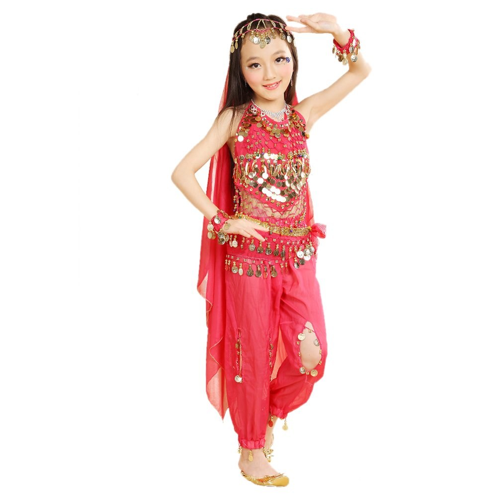 350dcfba2db1 Amazon.com: KINDOYO 5 Pcs Girls Indian Belly Dance Costumes Set, Egypt  dance Clothes: Clothing