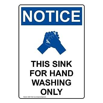 Amazon.com: compliancesigns OSHA Aviso este fregadero de ...