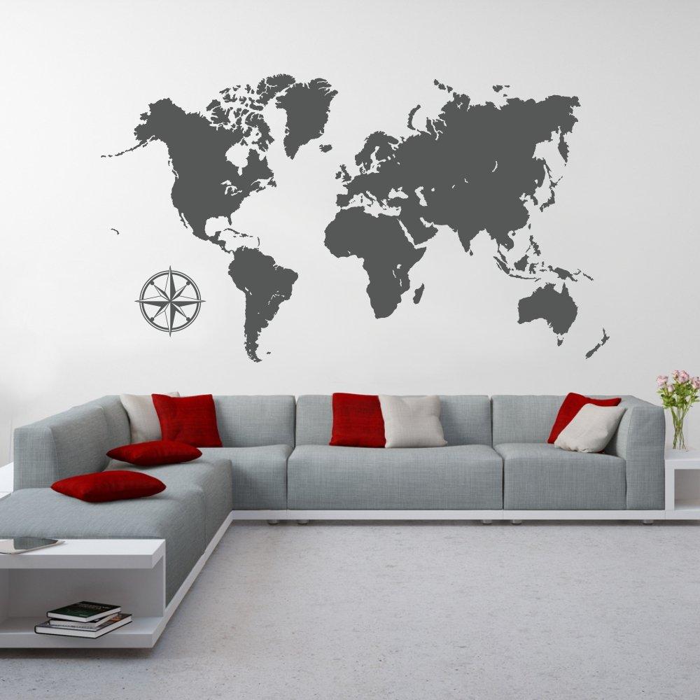 Malango® Wandtattoo Weltkarte Kontinente Wanddesign Wanddekoration Welt World Karte Map Design Dekoration ca. 200 x 113 cm schwarz