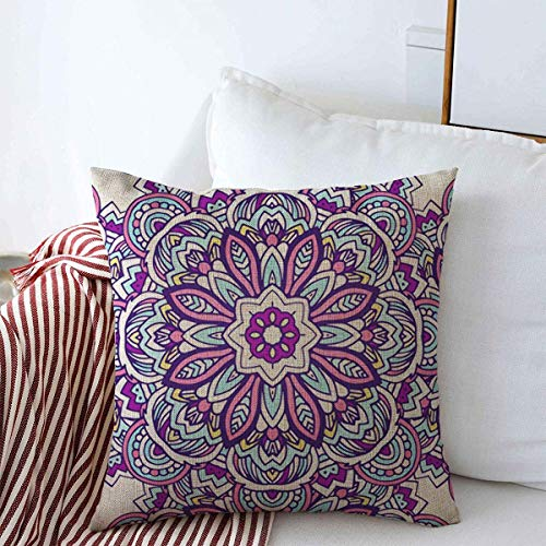 Starojul Throw Pillows Covers Cushion Case Abstract Tribal Ethnic African Ornate Arabesque Arabic Aztec Bookmark Design Patter Cotton Linen for Fall Couch Home Decor 16 x 16 Inches (Aztec Bookmark)