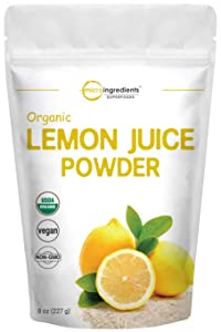 Micro Ingredients Organic Lemon Juice Powder, 8 Ounce, Rich in Natural Vitamin C and Great Flavor for Drinks, Smoothie and Beverages, Non-GMO and Vegan Friendly