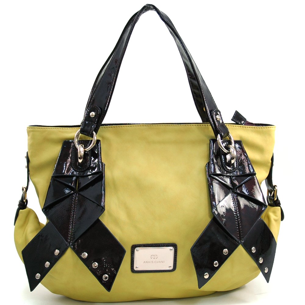 Anais Gvani Womens Large Two-tone Tote Bag w//Ribbon like /& Stud Accents
